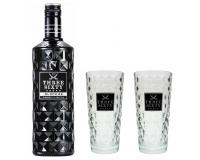 Three Sixty Vodka Black 42% 0,7l mit 2 Gläsern