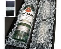 Bacardi weiss 37,5% 0,7l mit 2 Stölzle Gläsern in Geschenkkarton